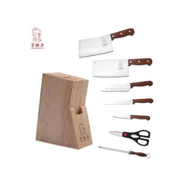 JIN NIANG ZI Stainless Steel Wood Handle 8PC Knife Set With Wood Stand Board (Model: YG-810)