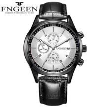 FNGEEN 30m Depth Three-dial Ultra-Thin Quartz Movement Leather Strap Men's Watch(Model:5308)