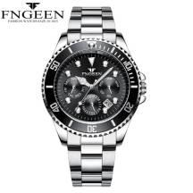 FNGEEN Three-dial Calendar Function Date Just Luminous Steel Strap Quartz Movement Men's Watch (Model: 8080)