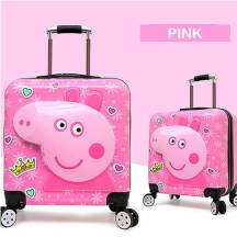 "PEPPA PIG 20"" Inch 3D Zipper Trolley Suitcase Luggage (Model: PPTL3D-P)"