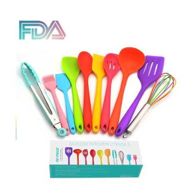 FDA Approved Rainbow Silicone Cooking Shovel Spoon Kitchenware 10pc Set (Model: FDARW)