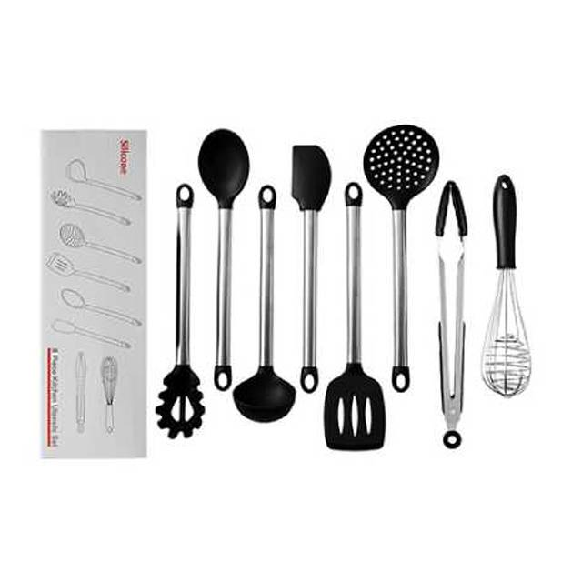FDA Approved Stainless Steel Handle Silicone Cooking Shovel Spoon Kitchenware 8pc Set (Model: FDABS)