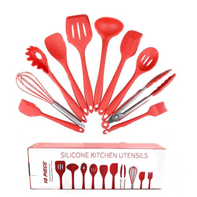 FDA Approved Red Silicone Cooking Shovel Spoon Kitchenware 10PC Set (Model: FDARA)