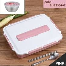 304 Stainless Steel Insulated Seal-tight Wheat-fiber lunch box with soup bowl & cutlery set (Model: SUST304)
