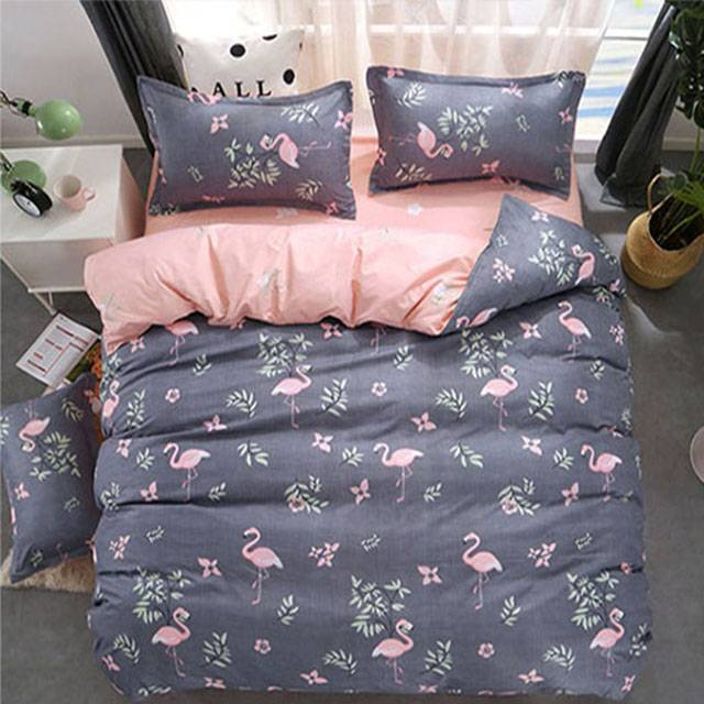 Wonder Home Grey Flamingo Cotton Bed sheets 4 Pieces Set , King Size (1.8/2 m) (Model:BYS)