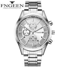FNGEEN 30m Depth Three-dial Ultra-Thin Quartz Movement Stainless Steel Strap Men's Watch (Model: 5308)