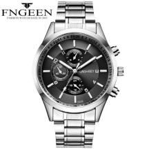 FNGEEN 30m Depth Three-dial Ultra-Thin Quartz Movement Stainless Steel Strap Men's Watch (Model: 5308)