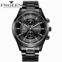 FNGEEN 30m Depth Three-dial Ultra-Thin Quartz Movement Stainless Steel Strap Men's Watch(Model:5308)
