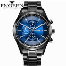 FNGEEN 30m Depth Three-dial Ultra-Thin Quartz Movement Stainless Steel Strap Men's Watch(Model:5308)