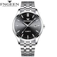 FNGEEN Waterproof Classic Dated Quartz Movement Stainless Steel Strap Men's Watch (Model: 2111)