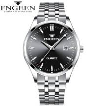 FENGEEN Waterproof Classic Dated Quartz Movement Stainless Steel Strap Men's Watch (Model: 2111)