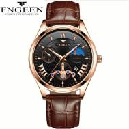 FNGEEN 50m Depth Three-dial Ultra-Thin Quartz Movement Leather Strap Men's Watch (Model: 5606)