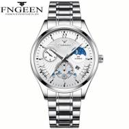 FNGEEN 50m Depth Three-dial Ultra-Thin Quartz Movement Stainless Steel Strap Men's Watch (Model: 5606)