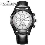 FNGEEN 30m Depth Three-dial Ultra-Thin Quartz Movement Leather Strap Men's Watch(Model:5308)