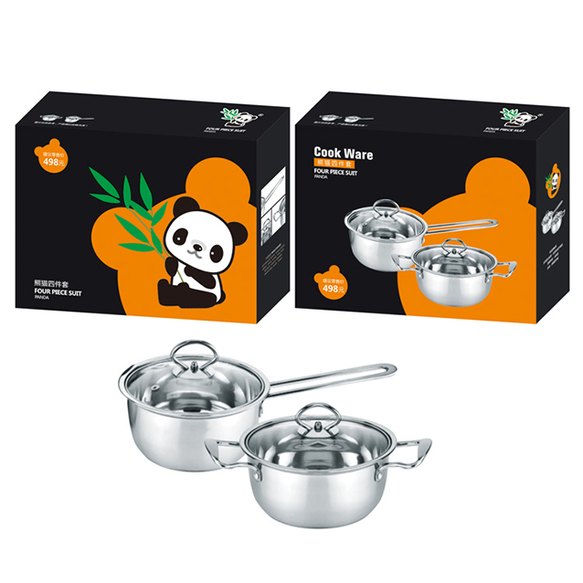 PANDA Stainless Steel Milk Pot & Soup Pot 2 Piece Set (Model: DTM1256)