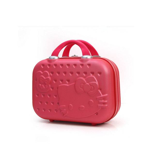 """Hello Kitty Mini Portable 14"""" Inch ABS Cosmetic Make Up Travel Suitcase With Strap (Model: 8355-HK)"""