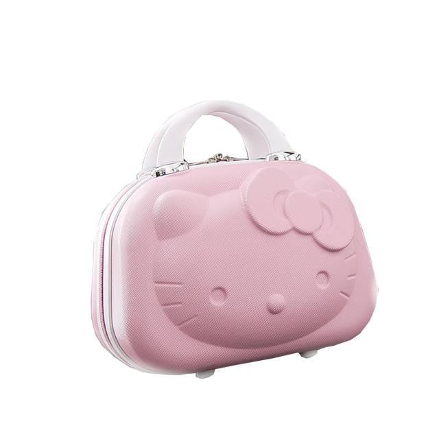 """Hello Kitty 3D Mini Portable 14"""" Inch ABS Cosmetic Make Up Travel Suitcase with Strap (Model: A019HK)"""