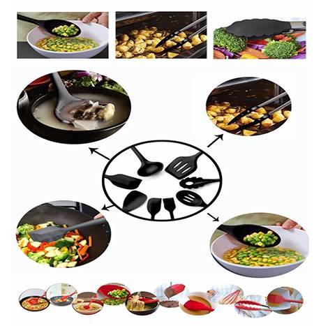 FDA Approved Black Silicone Cooking Shovel Spoon Kitchenware 10PC Set (Model: FDABK)