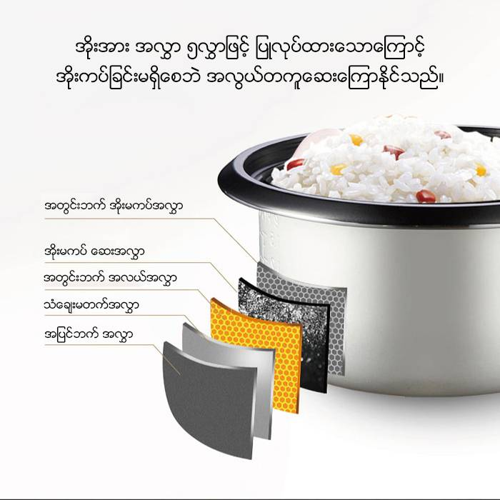 AUX Household 3 Liter Rose Silver Multi-function Rice Cooker (3-4 Persons)(Model:CFXB30-10)