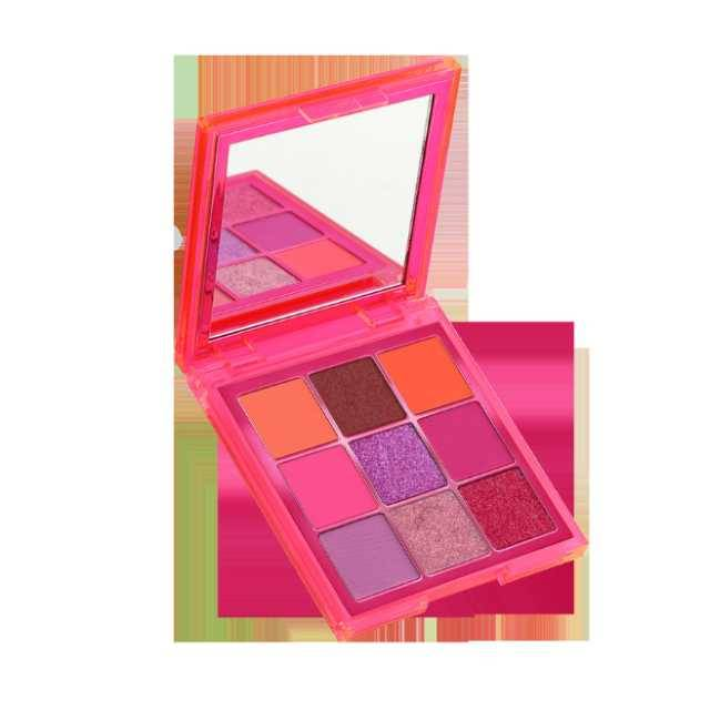 HUDA BEAUTY 9 Color Neon Pink Obsession Craze Eyeshadow Palette Party Look Makeup (Model: 509ED-P)