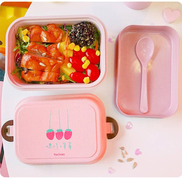 Cute Strawberry Prints Double-layered lunch box with Cutlery Set (Model: TR-AE30064)