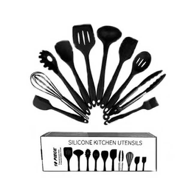 FDA Approved Black Silicone Cooking Shovel Spoon Kitchenware 10PC Set (Model: FDABK) (FO19M)