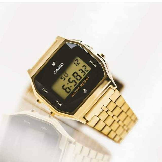 Casio Vintage Digital with Diamonds Gold (First Copy)