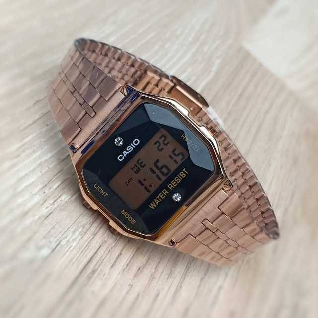 Casio Vintage Digital with Diamonds Pink Gold (First Copy)