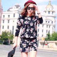 Selfiee Floral Long Sleeve Tee Short