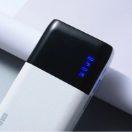 Dual-USB Power Bank 20000mAh Leather + LED Light LCD Digital Display