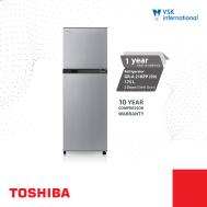 Toshiba 2 Door Refrigerator (175L) Silver,Steel Door GRA-21KPP(S9)