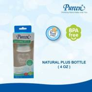 Pureen BPA-FREE BOTTLE 4 OZ. WITH NATURAL PLUS NIPPLE (31BFD019010)