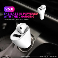 2 IN 1 Vehicle Bluetooth Headset Mini For iPhone,Xiaomi ,Samsung and Other Smartphones (Andriod & iOS)