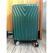 "20""Inch ABS Stripe Scratch Resistant Zipper 3 Digit Travel Password Lock Luggage (WL-20-005) Green"
