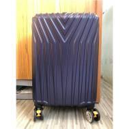 """20""""Inch ABS Stripe Scratch Resistant Zipper 3 Digit Travel Password Lock Luggage (WL-20-005) Dark Black"""